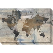 "Amanti Art Canvas Art Gallery Wrap Stone World Map by Avery Tillmon 30""W x 20""H (DSW3906496)"