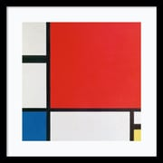 Amanti Art Framed Art Print Composition II in Red, Blue, and Yellow by Piet Mondrian  21 x 21 Frame Satin Black (DSW3906527)
