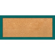 """Amanti Art Framed Cork Board Panel French Teal Rustic 32""""W x 14""""H Frame Teal (DSW3907420)"""