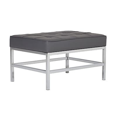 Studio Designs Home Ashlar Bonded Leather Square Ottoman Gray (72002)