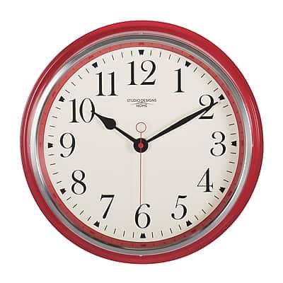 "Studio Designs Home Vintage Metal Wall Clock 19"" Red (73005)"
