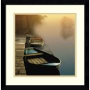 Amanti Art Framed Art Print  Misty Boats by Steven Mitchell 17 x 17 Frame Satin Black (DSW3908990)