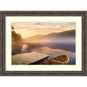 "Amanti Art Framed Art Print Morning on the Lake by Steve Hunkiker 49""W x 37""H, Frame Rustic Pine (DSW3908997)"
