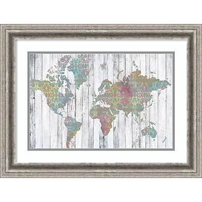 """""Amanti Art Framed Art Print Boho Map II by Jennifer Goldberger 25""""""""W x 19""""""""H, Frame Silver (DSW3909186)"""""" 24010992"