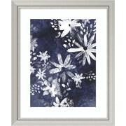 "Amanti Art Framed Art Print Indigo Floral Gesture II by June Vess 28""W x 34""H, Frame Silver (DSW3909256)"