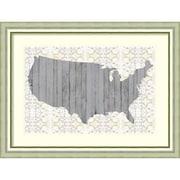 "Amanti Art Framed Art Print Flower Map IV by Jennifer Goldberger 41""W x 31""H Frame Silver (DSW3909372)"