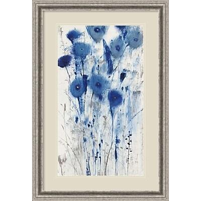 """""""""""Amanti Art Framed Art Print Blue Impressions II (Floral) by Tim O'Toole 25""""""""""""""""W x 37""""""""""""""""H, Frame Silver (DSW3909380)"""""""""""" 24010740"""