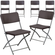 Flash Furniture Hercules Plastic Brown Rattan Plastic Folding Chair, Set of 6 (6DADYCZ61)