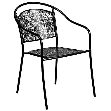 Flash Furniture Black Steel Patio Arm Chair (CO3BK)