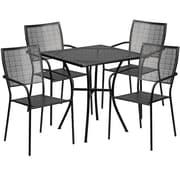 "Flash Furniture 28"" Square Black Patio Table Set (CO28SQ02CHR4BK)"