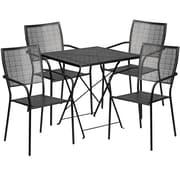 "Flash Furniture 28"" Square Black Fold Patio Set (CO28SQF02CHR4BK)"