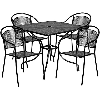 flash furniture 35 5 square curved back black patio table set 4 rh staples ca black patio table covers black patio table and chairs sets