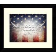 "Amanti Art Framed Art Print No Greater Love Flag by Jason Bullard 27""W x 23""H, Frame Satin Black  (DSW3909473)"