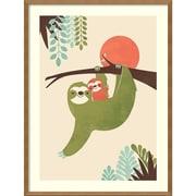 "Amanti Art Framed Art Print Mama Sloth by Jay Fleck 25""W x 33""H Frame Natural Maple (DSW3909482)"