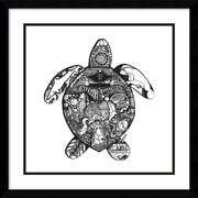 "Amanti Art Framed Art Print Goodbye Sea Turtle by Liz Ash 21""W x 21""H Frame Satin Black(DSW3909511)"