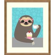"Amanti Art Framed Art Print Diva Sloth by Nancy Lee 16""W x 19""H, Natural Maple (DSW3909512)"