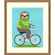 "Amanti Art Framed Art Print Cycling Sloth by Nancy Lee 16""W x 19""H, Espresso Brown (DSW3909514)"