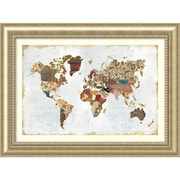"Amanti Art Framed Art Print Pattern World Map by Laura Marshall 47""W x 35""H, Frame Champagne (DSW3909591)"