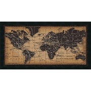 "Amanti Art Framed Art Print Old World Map by Pela Studio 42""W x 22""H, Frame Satin Black (DSW3909705)"