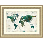 "Amanti Art Framed Art Print Discover the World (Map) by Melissa Averinos 49""W x 37""H, Frame Champagne (DSW3909706)"