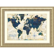 "Amanti Art Framed Art Print World Map Collage by Sue Schlabach 49""W x 37""H, Frame Champagne (DSW3909714)"