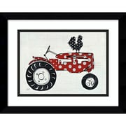 "Amanti Art Framed Art Print Modern Americana Farm V Tractor by Melissa Averinos 15""W x 12""H, Frame Satin Black (DSW3909720)"