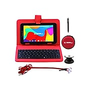 """Linsay 7"""" Tablet, WiFi, 2GB RAM, 32GB, Android, Black/Red (F7UHDBKRP)"""