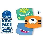 Educational Insights Reusable Face Masks, Kids, Dinosaur/Tiger/Shark, 3/Pack (8952)