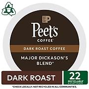 Peet's Major Dickason's Blend Coffee, Keurig K-Cup Pods, Dark Roast, 22/Box (6547)