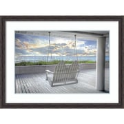 """Amanti Art Framed Art Print Swing At The Beach by Celebrate Life Gallery  43"""" x 31""""H, Frame Rustic Pine (DSW3910566)"""