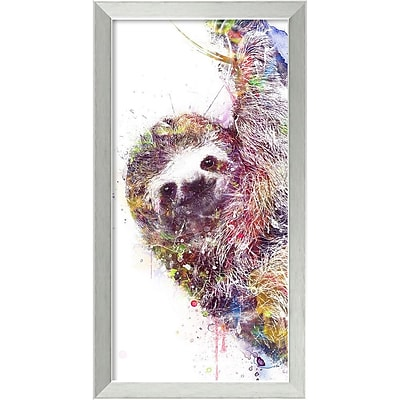 """""Amanti Art Framed Art Print Sloth by Veebee 14""""""""W x 26""""""""H Frame Brushed Steel (DSW3910669)"""""" 24010690"