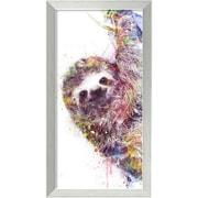 "Amanti Art Framed Art Print Sloth by Veebee 14""W x 26""H Frame Brushed Steel (DSW3910669)"