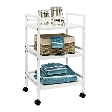 Honey Can Do 3-tier metal rolling cart, white (CRT-03090)