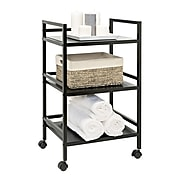 Honey Can Do 3-tier metal rolling cart, black (CRT-03092)