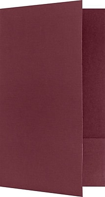 LUX Legal Size Folders, Standard Two Pockets, Burgundy Red Linen, 250/Pack (LF118DB100250)