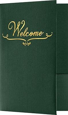LUX Welcome Folders - Standard Two Pockets - Gold Foil Stamped Design 250/Pack, Green Linen (WELDDP100GF250)