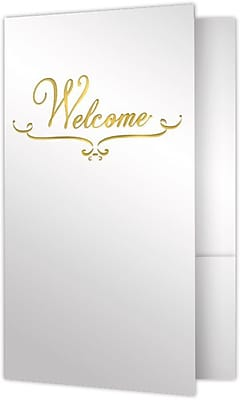 LUX Welcome Folders - Standard Two Pockets 25/Pack, Bright White Gloss w/ Gold Foil (WEL-SG12-GF-25)
