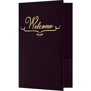LUX Welcome Folders - Standard Two Pockets - Gold Foil Stamped Design 50/Pack, Dark Purple Linen (WEL-DE100-GF-50)