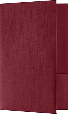 LUX Small Presentation Folders - Two Pockets 25/Pack, Burgundy Linen (MF-144-DB100-25)