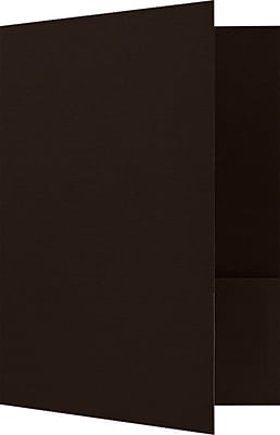 LUX 9 x 12 Presentation Folders - Standard Two Pocket 250/Pack, Espresso Linen (SF101DMAH100250)