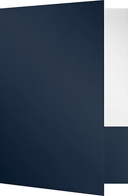 LUX 9 x 12 Presentation Folders - Standard Two Pocket 50/Pack, Navy Gloss (SF-101-DN12-50)