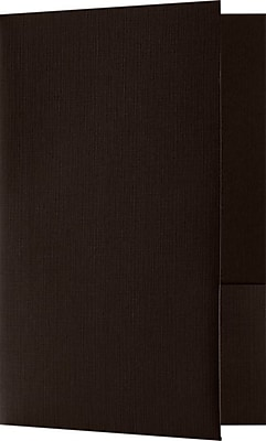 LUX Small Presentation Folders, Two Pockets, 25/Pack, Espresso Linen, 25/Pack (MF144DMAH10025)