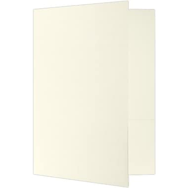 LUX 9 x 12 Presentation Folders - Standard Two Pocket 50/Pack, Ivory White Linen (SF-101-BN100-50)