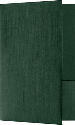 LUX Small Presentation Folders, Two Pockets, 25/Pack, Green Linen, 25/Pack (MF144DDP10025)