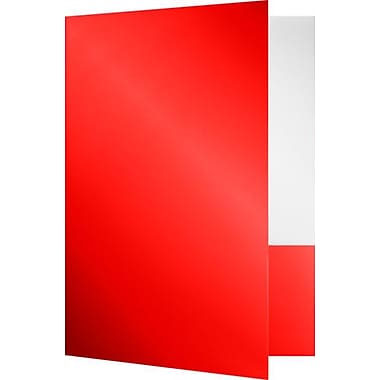 LUX 9 x 12 Presentation Folders - Standard Two Pocket 500/Pack, Red Gloss (SF101RGLOSS500)