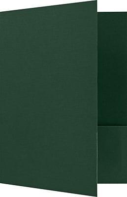 LUX 9 x 12 Presentation Folders - Standard Two Pocket 25/Pack, Green Linen (SF101DDP10025)