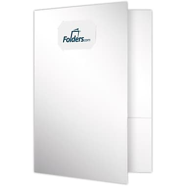 LUX 9 x 12 Presentation Folders - Standard Two Pocket w/ Front Cover Center Card Slits 500/Pack, White Gloss (OR-144-SG12-500)