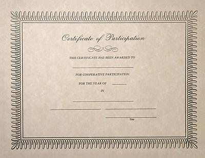 LUX Certificates - Participation 25/Pack, Natural (CERTIF-PAR-25)