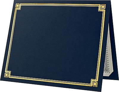 9-1//2 x 12 Folded with Diecut Corners on 80 lb Linen Cover Stock Set of 25 Classic Black Certificate Folder with Gold Border