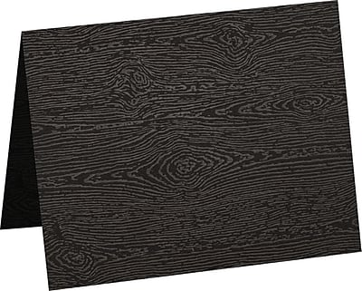 LUX A9 Folded Card (5 1/2 x 8 1/2) 1000/Pack, Brasilia Black Woodgrain (5060-C-S04-1000)